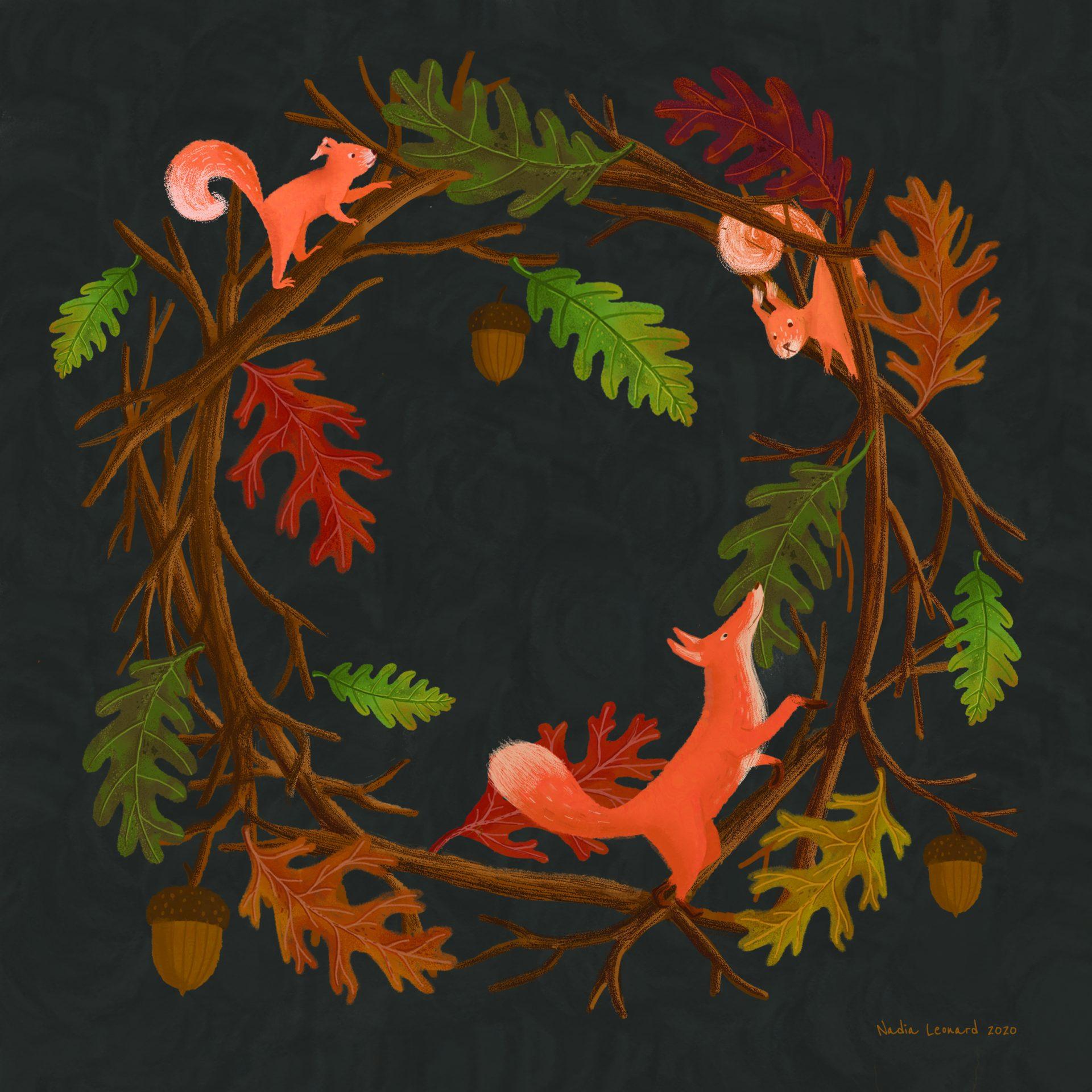 illustration d'automne avec renard et écureuils